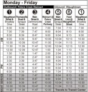 Route 101 Monday-Friday Time Table