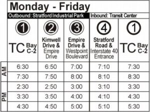 Route 102 Monday-Friday Time Table
