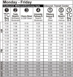 Route 106 Monday-Friday Time Table