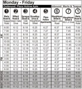 Route 108 Monday-Friday Time Table
