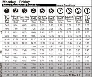 Route 109 Monday-Friday Time Table