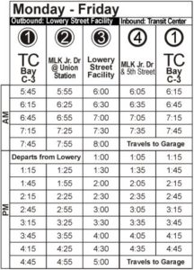 Route 110 Monday-Friday Time Table