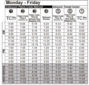 Route 83 Mon-Fri Time Table Graphic