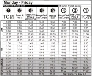Route 84 Mon-Fri Time Table
