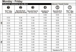 Route 88 Monday-Friday Time Table