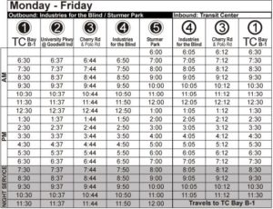 Route 89 Monday-Friday Time Table