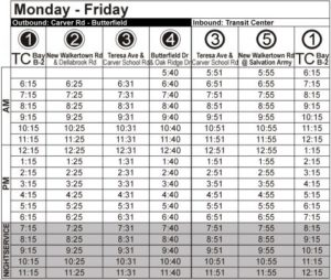 Route 96 Monday-Friday Time Table