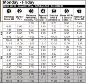 Route 97 Monday-Friday Time Table